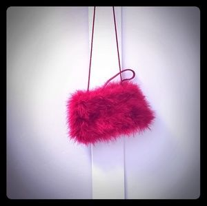 Small red faux fur cocktail purse